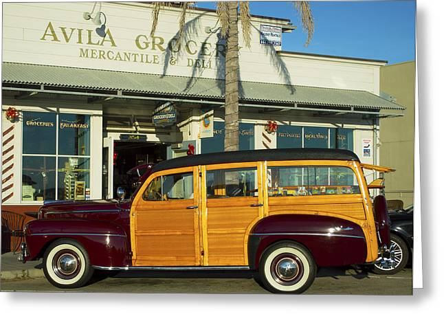 Station Wagon Greeting Cards - Avila Beach Woddy Greeting Card by Barbara Snyder