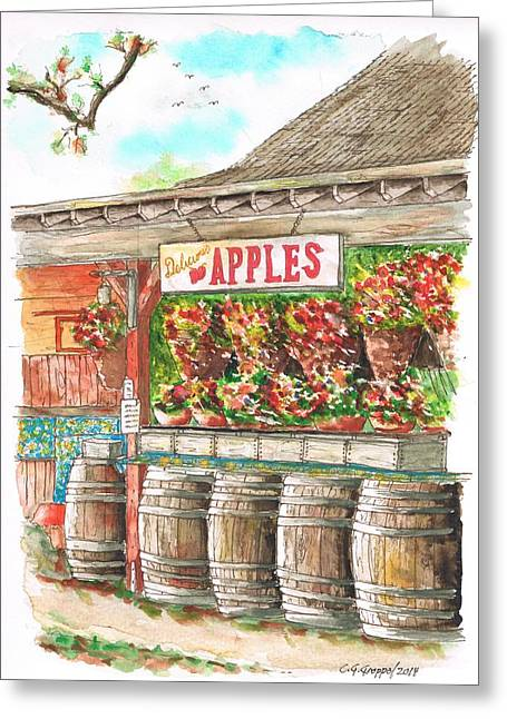 Fruit Tree Art Greeting Cards - Avila Valley Barn with Delicious Apples sign in Avila Beach - California Greeting Card by Carlos G Groppa