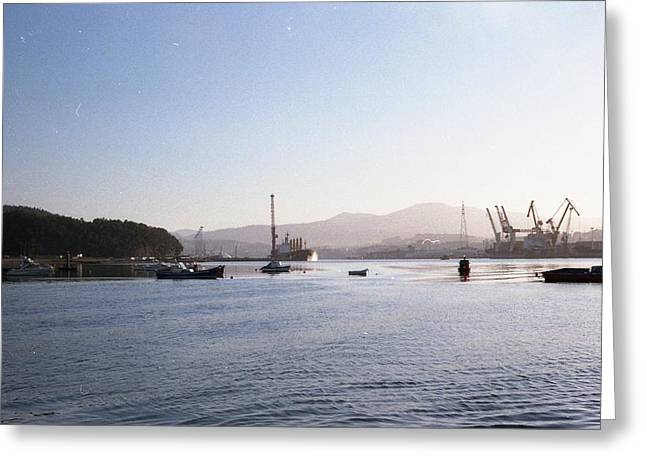 Atlantic Ocean Greeting Cards - Aviles port Greeting Card by Juan  Bosco