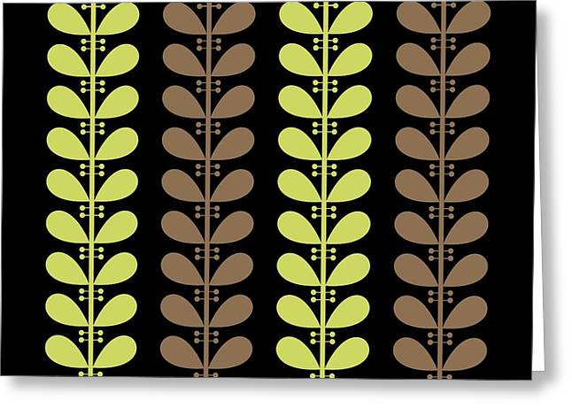Avocado Green Greeting Cards - Avocado and Brown Leaves on Black Pillow Greeting Card by Donna Mibus