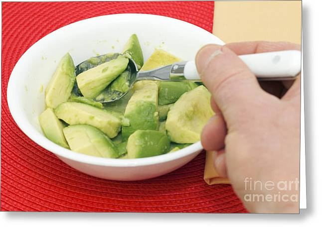 White Cloth Greeting Cards - Avocado and Lime Breakfast Greeting Card by Lee Serenethos