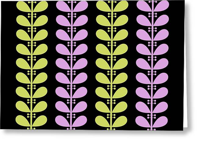 Avocado Green Greeting Cards - Avocado and Violet Leaves on Black Pillow Greeting Card by Donna Mibus