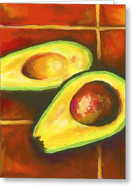 Avocado Green Greeting Cards - Avocado Sabroso Greeting Card by Stephen Anderson