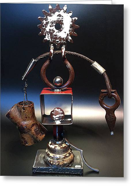 Recycled Sculptures Sculptures Greeting Cards - Avoidance of Chastity Greeting Card by Jeff Owen