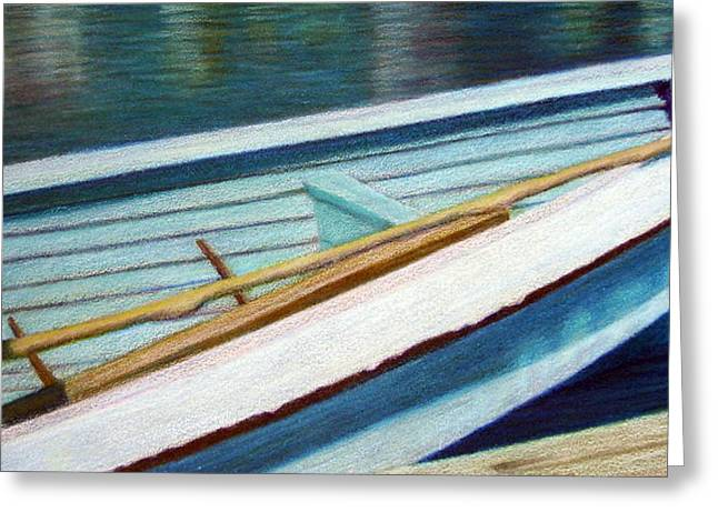Row Boat Drawings Greeting Cards - Avon Boat Greeting Card by Ann Thompson Nemcosky