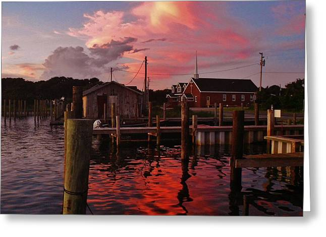 Kite Greeting Cards - Avon Harbor and Church 2 8/27 Greeting Card by Mark Lemmon