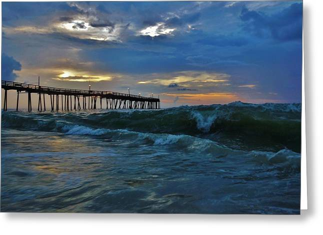 Snow Boarder Greeting Cards - Avon Pier Sunrise Storm Wave 6/12/2014 Greeting Card by Mark Lemmon