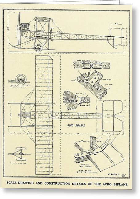 Aviator Drawings Greeting Cards - Avro Biplane Scale Drawing 1912 Greeting Card by Vintage Product Ads