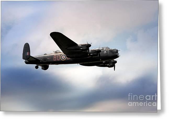 Derwent Dam Greeting Cards - Avro Lancaster Bomber Greeting Card by J Biggadike