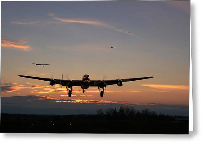 Lancasters Greeting Cards - Avro Lancaster - Dawn Return Greeting Card by Pat Speirs
