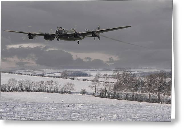 Lancasters Greeting Cards - Avro Lancaster - Limping Home Greeting Card by Pat Speirs