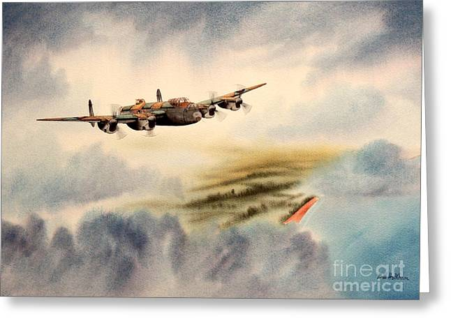 Aircraft Artist Greeting Cards - Avro Lancaster Over England Greeting Card by Bill Holkham