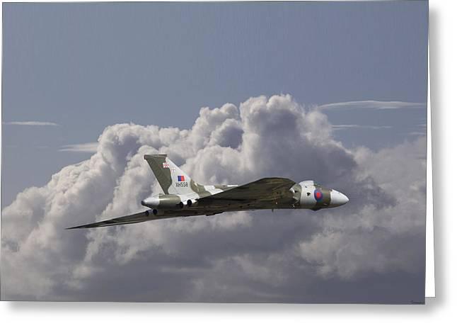 Vulcan Greeting Cards - Avro Vulcan - High Transit Greeting Card by Pat Speirs