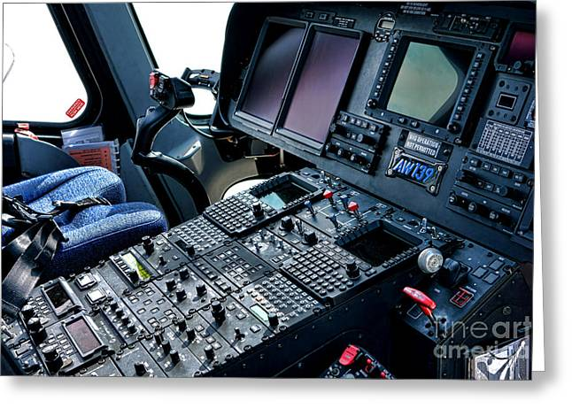 Aw139 Cockpit Greeting Card by Olivier Le Queinec