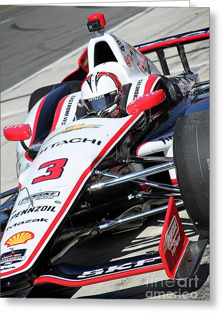 Indy Car Greeting Cards - Awaiting Helio Castroneves  Greeting Card by Bryan Maransky