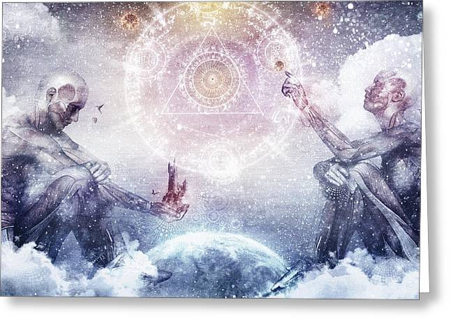 Depression Greeting Cards - Awake In A Silver Land Greeting Card by Cameron Gray