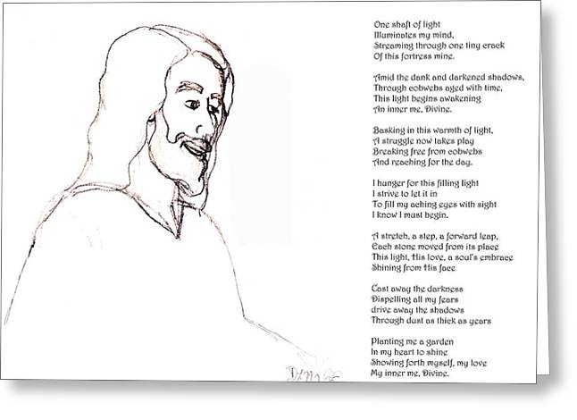 Smiling Jesus Digital Greeting Cards - Awakening Divine Self Worth sketch of Jesus 2 Greeting Card by Dawna Morton