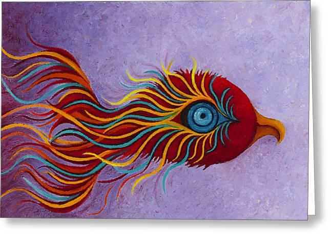 Recently Sold -  - Stellar Paintings Greeting Cards - Mythical Phoenix Awakening Greeting Card by Karen Balon