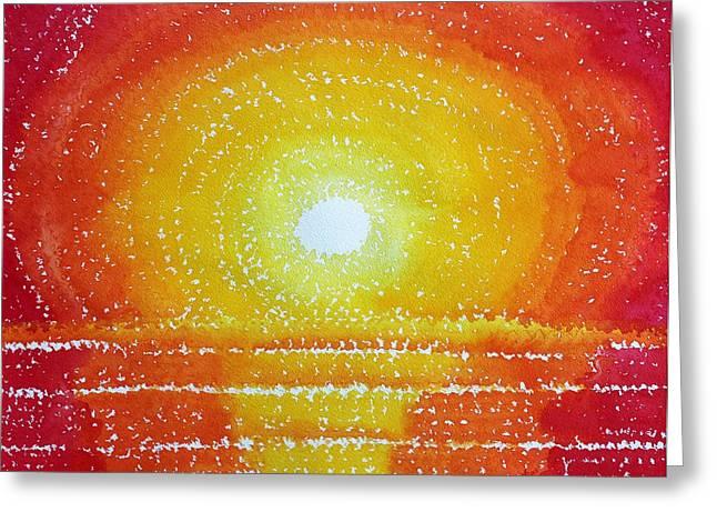 Printmaking Greeting Cards - Awakening original painting Greeting Card by Sol Luckman