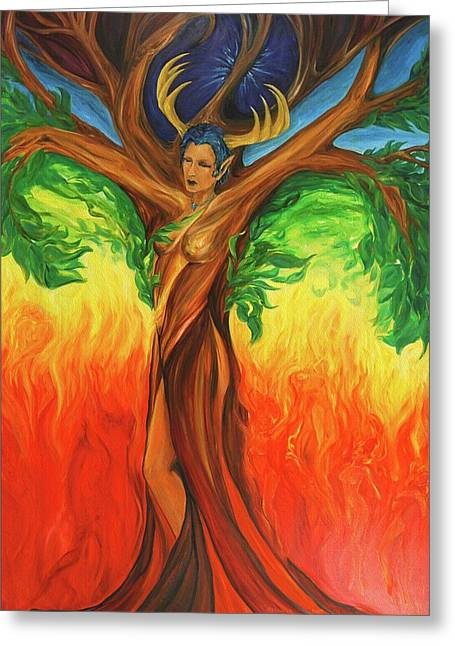 Gaia Greeting Cards - Awakening the Chakra Tree Greeting Card by Jennifer Christenson