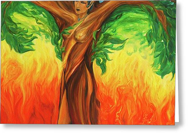 Awakening the Chakra Tree Greeting Card by Jennifer Christenson