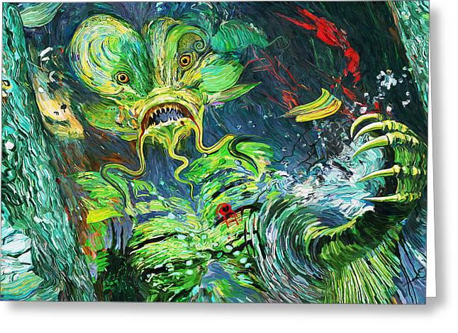 Creature From The Black Lagoon Greeting Cards - Awakening Upon Death of the Bride of the Creature Greeting Card by Eric Wayne