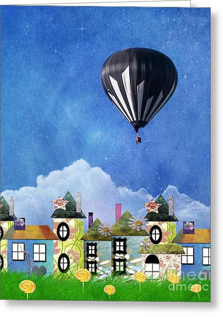 Helium Greeting Cards - Away Above the Chimney Tops Greeting Card by Juli Scalzi