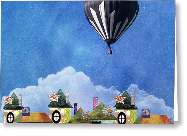 Away Above The Chimney Tops Greeting Card by Juli Scalzi