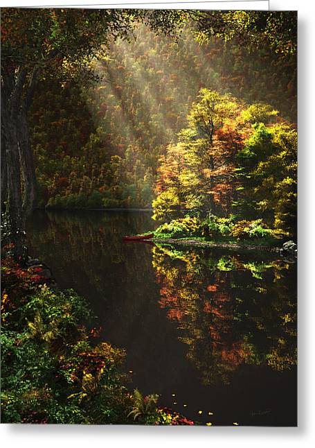 Elm Digital Art Greeting Cards - Away From It All Greeting Card by John Robichaud