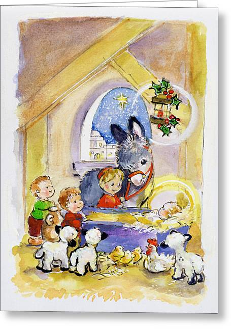 Stable Greeting Cards - Away In A Manger, 1996 Wc Greeting Card by Diane Matthes
