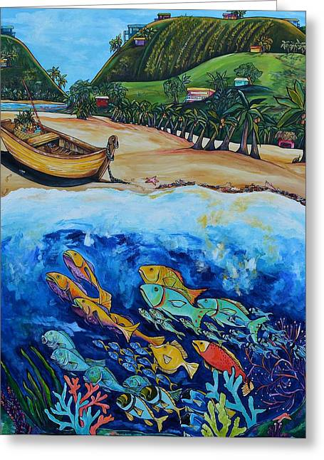 Book Cover Art Greeting Cards - Away With The Fishes Greeting Card by Patti Schermerhorn