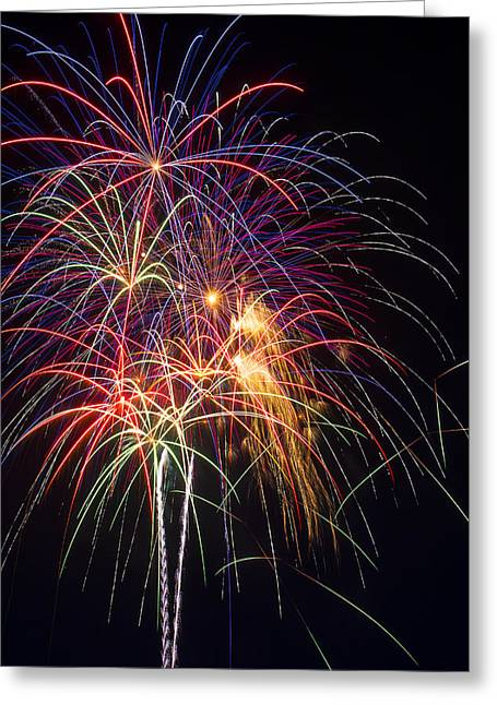 Pyrotechnics Greeting Cards - Awesome fireworks Greeting Card by Garry Gay
