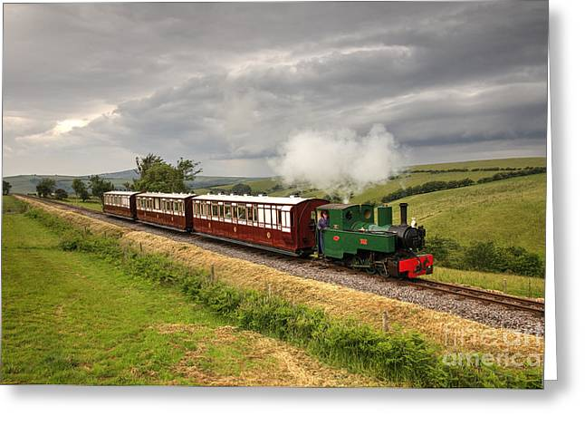 Narrow Gauge Steam Train Greeting Cards - Axe at Woody Bay Greeting Card by Rob Hawkins