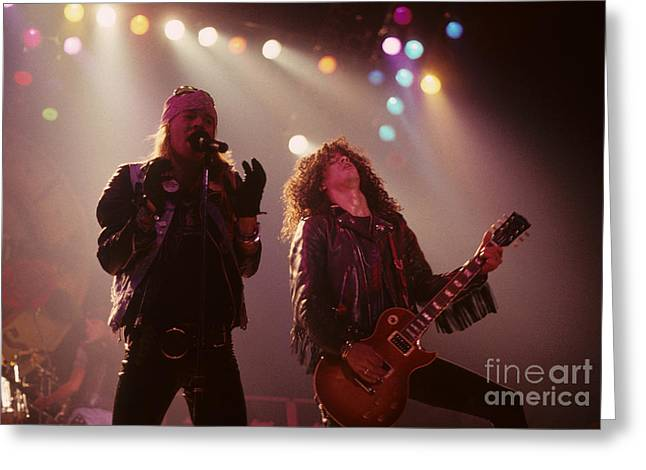 Axl Rose Greeting Cards - Axl Rose and Slash Greeting Card by Rich Fuscia