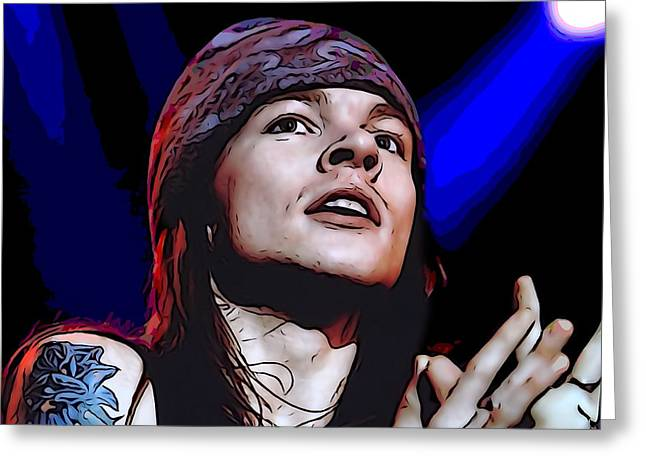 Live Music Greeting Cards - Axl Rose Greeting Card by Dan Sproul