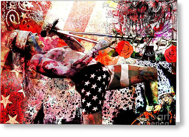 Bandana Greeting Cards - Axl Rose Original Greeting Card by Ryan RockChromatic