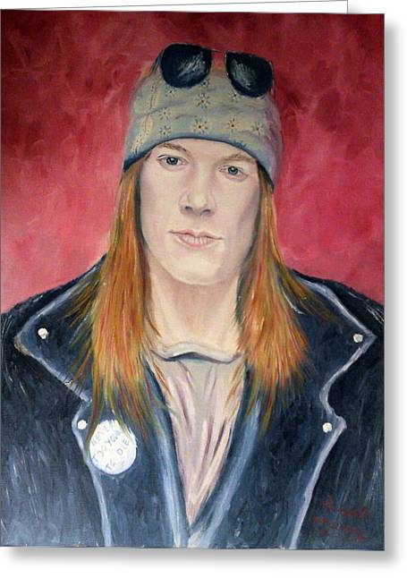 Axl Rose Paintings Greeting Cards - Axl Rose Greeting Card by Robert Rombeiro