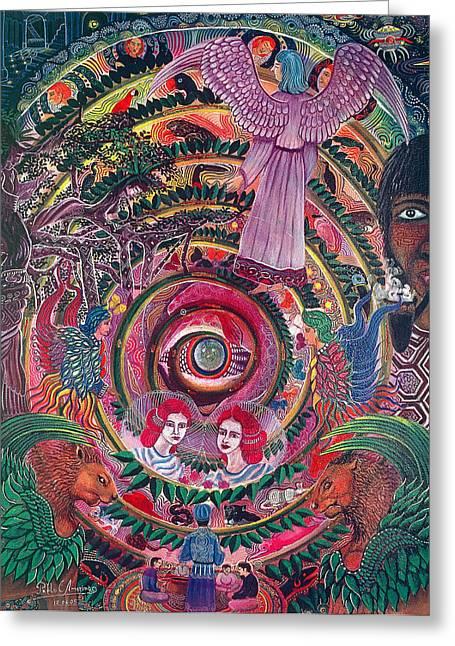 Ayahuasca Visions Greeting Cards - Aya Muyuywairu Tornado Espiritual Greeting Card by Pablo Amaringo