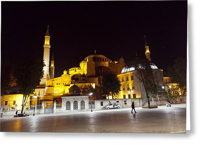 Istanbul Pyrography Greeting Cards - Aya Sophia in Istanbul Turkey at night Greeting Card by Raimond Klavins