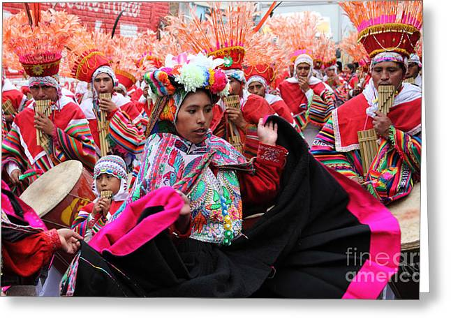 Panpipes Greeting Cards - Ayarachis dancers Greeting Card by James Brunker
