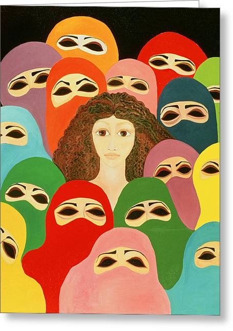 Burkas Greeting Cards - Ayesha, 1989 Oil On Canvas Greeting Card by Laila Shawa
