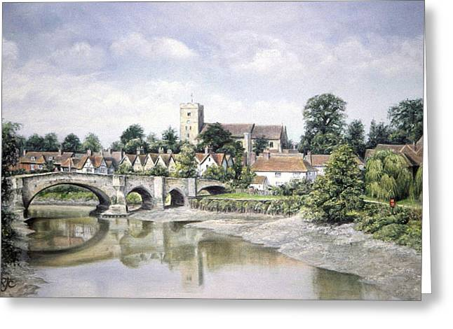 Serene Pastels Greeting Cards - Aylesford Bridge Greeting Card by Rosemary Colyer