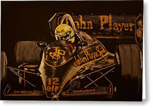 Controlled Pastels Greeting Cards - Ayrton Senna and Lotus 98T Greeting Card by Juan Mendez