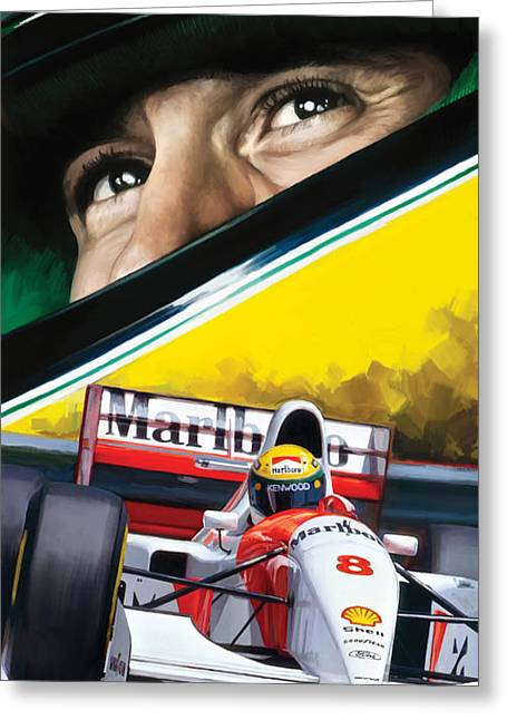 Sports Art Print Greeting Cards - Ayrton Senna Artwork Greeting Card by Sheraz A