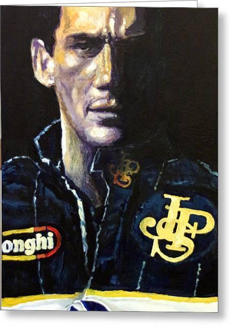 Famous Paintings Greeting Cards - Ayrton Senna Lotus 98T 1986 02 Greeting Card by Yuriy Shevchuk