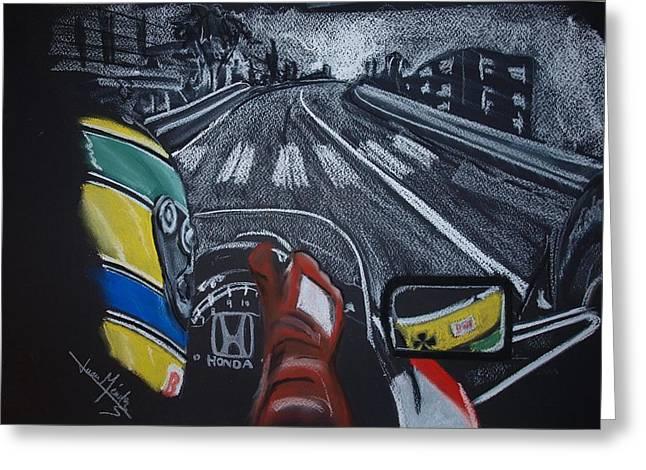 Driving Pastels Greeting Cards - Ayrton Senna on board at Monaco 89 Greeting Card by Juan Mendez