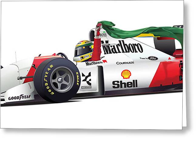 Marino Greeting Cards - Ayrton Senna on white Greeting Card by Alain Jamar