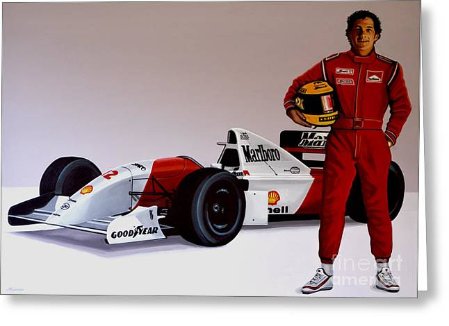 Catholic Art Greeting Cards - Ayrton Senna Greeting Card by Paul  Meijering