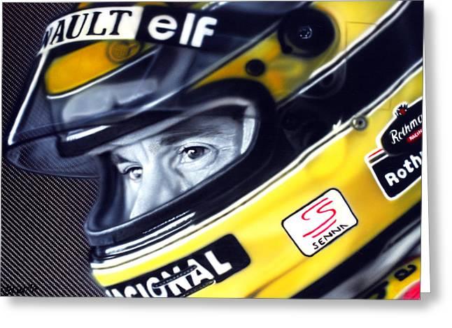 Photorealism Greeting Cards - Ayrton Senna Greeting Card by Tom Ryczkowski