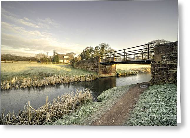 Peverell Greeting Cards - Ayshford Bridge Winter  Greeting Card by Rob Hawkins